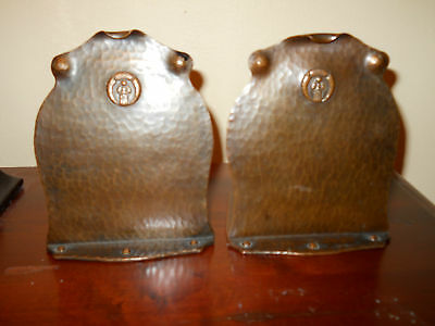 Antique Arts & Crafts Signed Old Mission Hand-Hammered Copper Bookends Mint