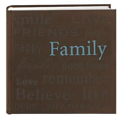 Family Text Design Sewn Faux Suede Cover Photo Album Memories Binder