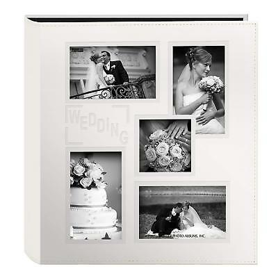 "Collage Frame Embossed ""Wedding"" Sewn Leatherette Cover Photo Album Decor"