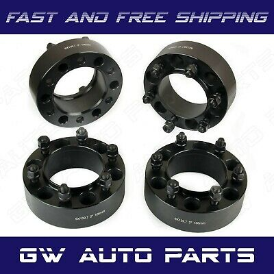 "4 PCs 2"" HUB CENTRIC WHEEL SPACERS 6X5.5 or 6x139.7 CB 106mm 12X1.5 Fit TOYOTA"