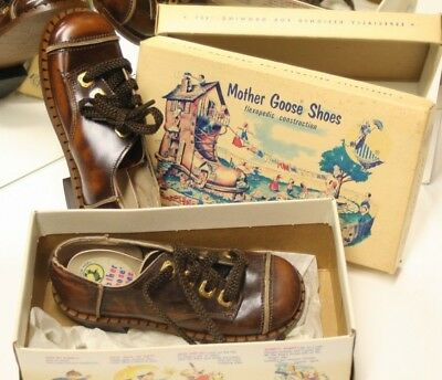 Vintage Child Mother Goose Shoes Leather New In Box From 1954 #6333 495