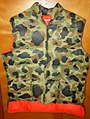 Vintage 90's 10X  DOWN Camo Orange Light weight reversible Hunting Vest  Mens XL
