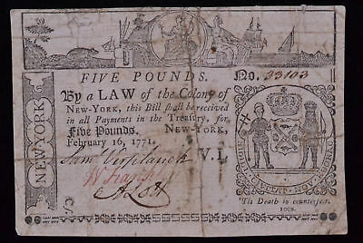 February 16, 1771 5 Pound Colonial Note #33103 FR NY-166