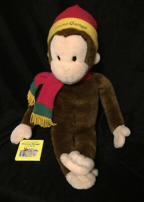 """CURIOUS GEORGE Vintage 2001 Plush Large 24"""" Macys Stuffed Toy Monkey With Book"""
