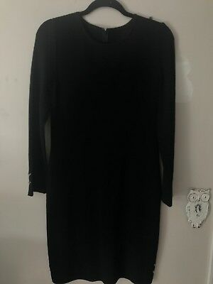 St John Collection By Marie Gray Knit Dress, Black With Gold Detail, Size 4