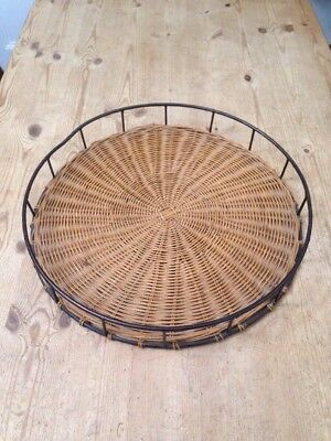 Vintage Large Round Whicker / Metal Tray - 46cm Dia.