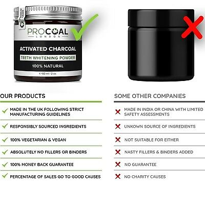 Activated Charcoal Teeth Whitening Powder by PROCOAL - 100% Natural Teeth Whiten