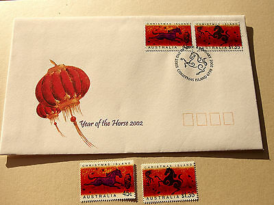 2002 Christmas Island - Year of The Horse 45c, $1.35  MNH + FDC