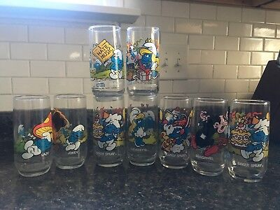 Vintage Hardees Smurf Drinking Glasses