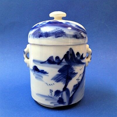 Oriental Chinese - Blue & White Porcelain Lidded Tea Caddy - Hand Painted Scene