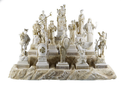Set All The 12 Olympian Gods of Mount Olympus Gold Tone Alabaster 6.69''
