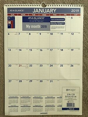 """at-A-Glance PM228-18 Monthly Wall Calendar, Jan 2019 - Dec 2019, 12"""" x 17"""""""
