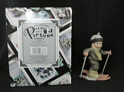 Enesco Pretty As A Picture On My Way To You Porcelain Boy Figurine Ornamen LN