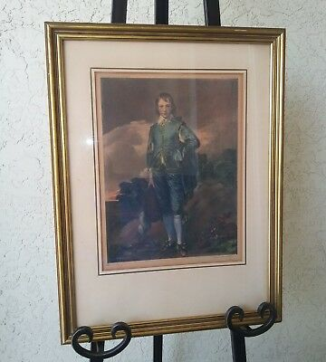 Antique Blue Boy By Gainsborough Original Lithograph Framed and Matted