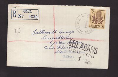 Tasmania registered GRETNA 1964 Tatts cover to Victoria see scans x 2