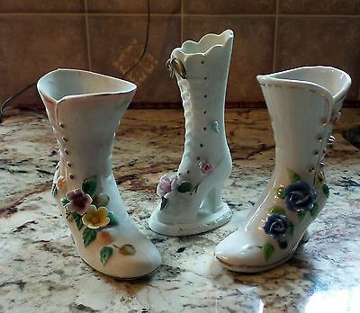 Three Vintage Victorian Style Ceramic Button Up Boots, Shoes, Vases