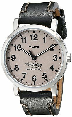 Timex TW2P58800 Men's Black Leather Watch, Indiglo, Waterbury Collection 50M