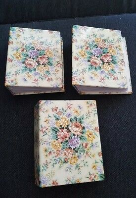 Three Mini Photo Albums - Floral Hard Cover - Holds 4x6 photos