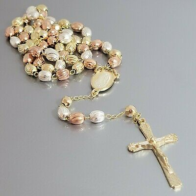 ROSARY Necklace Gold Plated Three Tone Our Lady of Guadalupe Rosario