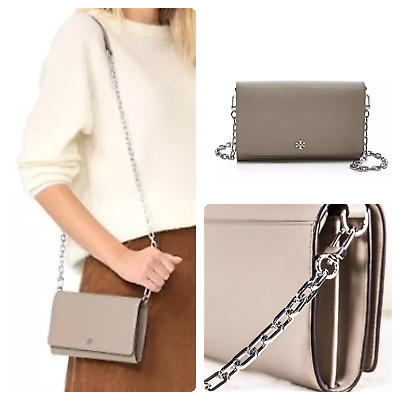 dbdec93f2777 Tory Burch Robinson Chain Wallet Crossbody Bag French Gray New With Tags