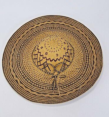 Lovely Antique Straw Rice Paddy hat with ornate designs from Java, Indonesia