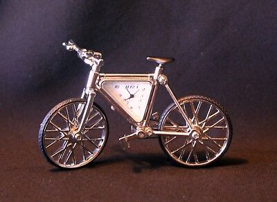 Vintage Silver bicycle clock with movable parts gift boxed  6 inches