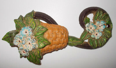 "Antique iron door knocker vintage basket with flowers paintied 6.5"" x 2.5"""