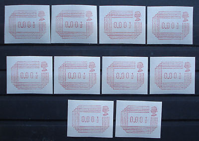 GB- QEII: Lot ATM / labels / variable rate stamps / FRAMA 0.001/2- MNH