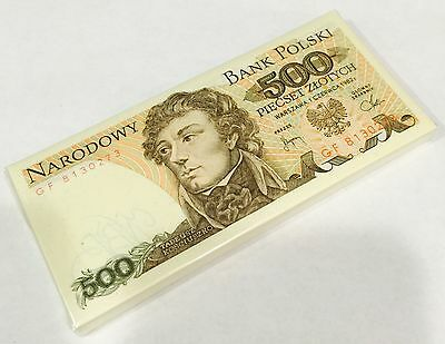 POLAND 500 ZLOTYCH 1982 P 145 UNC (BUNDLE of 100 NOTES)  --