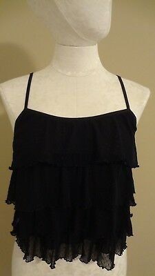 Women's Large L VICTORIA'S SECRET Black Lace Cami Camisole Frilly Layers NEW