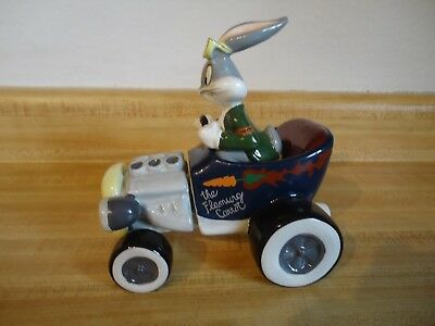 "Bugs Bunny Race Car Driver ""The Flaming Carrot"" Ceramic Salt & Pepper Shakers"