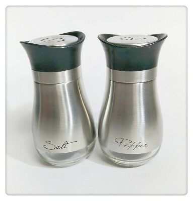 New Set of 2 Stainless Steel Salt & Pepper Shakers With Clear Glass Bottom