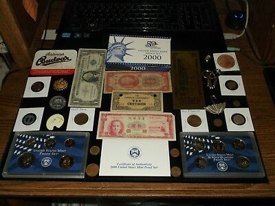 Junk Drawer Coin Lot+GOLDEN DOLLAR+Silver Cert+PROOF SET+ Old Currency+Quarters+