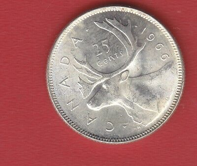Canada 25 Cents 1966 Silver