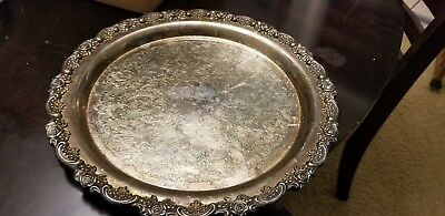 "Oneida Silver Plate Georgian Scroll 12"" Round  Serving Tray Platter"