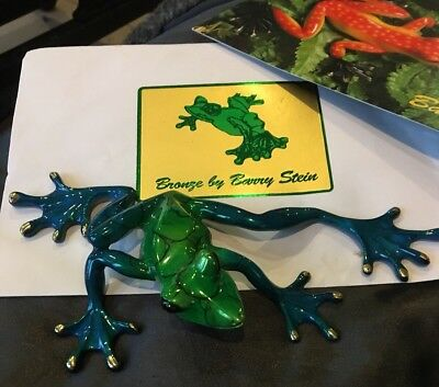 Bronze Frog Sculpture Barry Stein SLIDER 2011 Limited Edition 45/1000 Blue Green