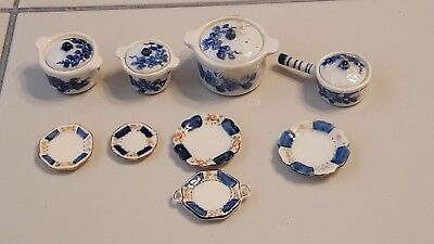 Vintage Miniature Dollhouse Porcelain Cookware, Dinner, dessert, Plates and tray