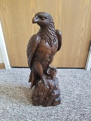 *Rare*VINTAGE HAND CARVED WOOD RED MILL MFG PECAN SHELL AMERICAN EAGLE SCULPTURE
