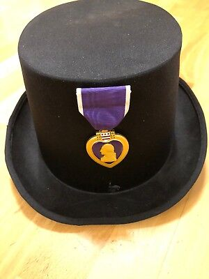 Zylinderhut Cylinder Hat Size Gr. 57cm  U.S Militär Purple Heart Medal  Of Honor