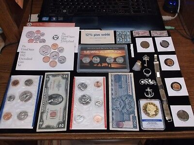 Coin Lot Coin Collection+RED SEAL+JEWELRY+Mint Set+Nickel Set+Half Dollar+Stamps