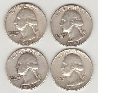 (2) 1956 and (2) 1959D SILVER WASHINGTON QUARTERS  NICE!!  NO RESERVE PRICE!!!