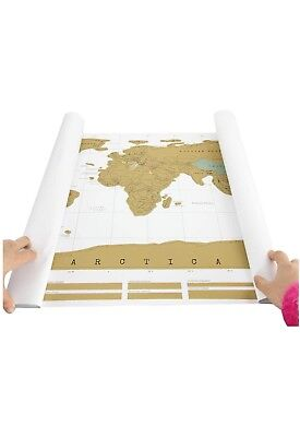 NEW World Scratch Off Map Deluxe States US Travel Edition World Map Poster Gold