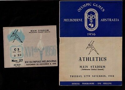 Melbourne 1956 Olympic Games Programme & Admission Ticket.various Finals