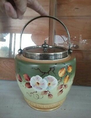 Rare  Biscuit Jar  Shabby  Chic Or Downtown Brownstone Unusual Fancy~ Gilt ~ Old