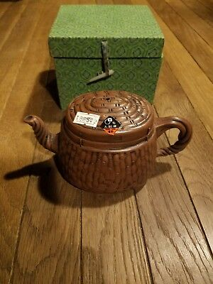 Vintage New Yixing Clay Basket Style Teapot Twisted Handle Chinese
