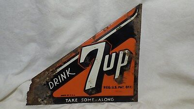 Rare Vintage 1940's Metal Triangle Screen Door 7up Sign, Brace, Made in USA-LOOK
