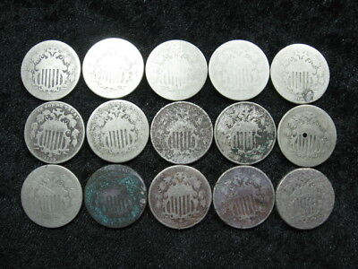 15 assorted old coin lot USA 5 cent Shield nickel