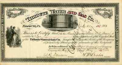 1883 Tidioute Water & Gas Stock Certificate