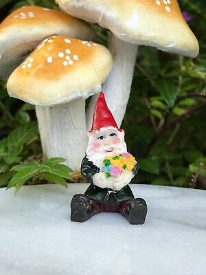 "Miniature Dollhouse FAIRY GARDEN  Accessories ~ TINY 1¼"" Tall Gnome w/ Flowers"