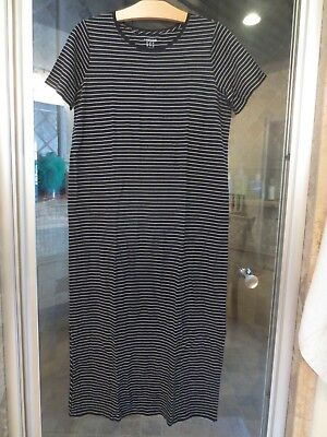 NWT Lands End Womens Long T-Shirt Dress or Nightgown Black  S 6-8